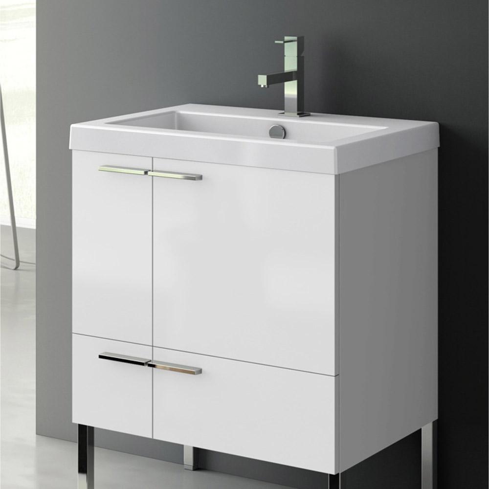 Modern 23 Inch Bathroom Vanity Set With Ceramic Sink