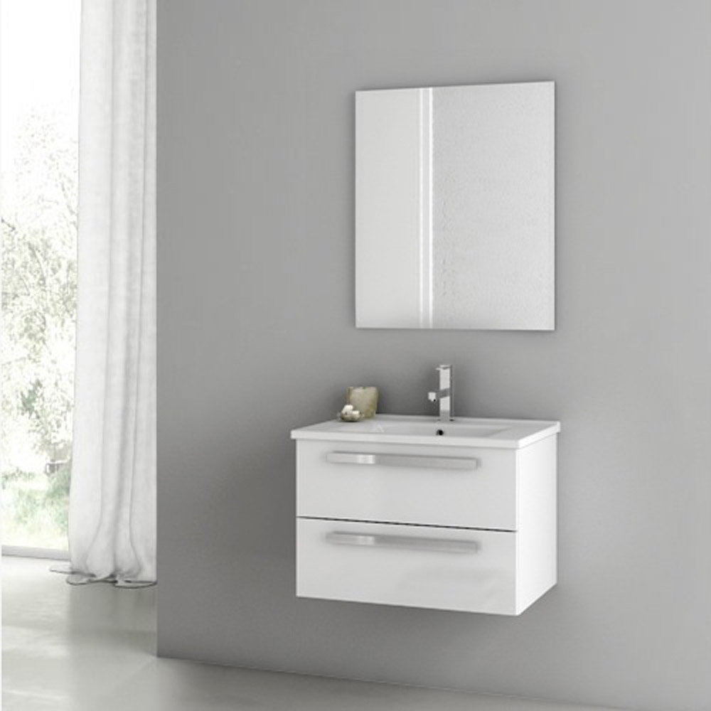 Modern 24 inch Dadila Vanity Set with Ceramic Sink Glossy White