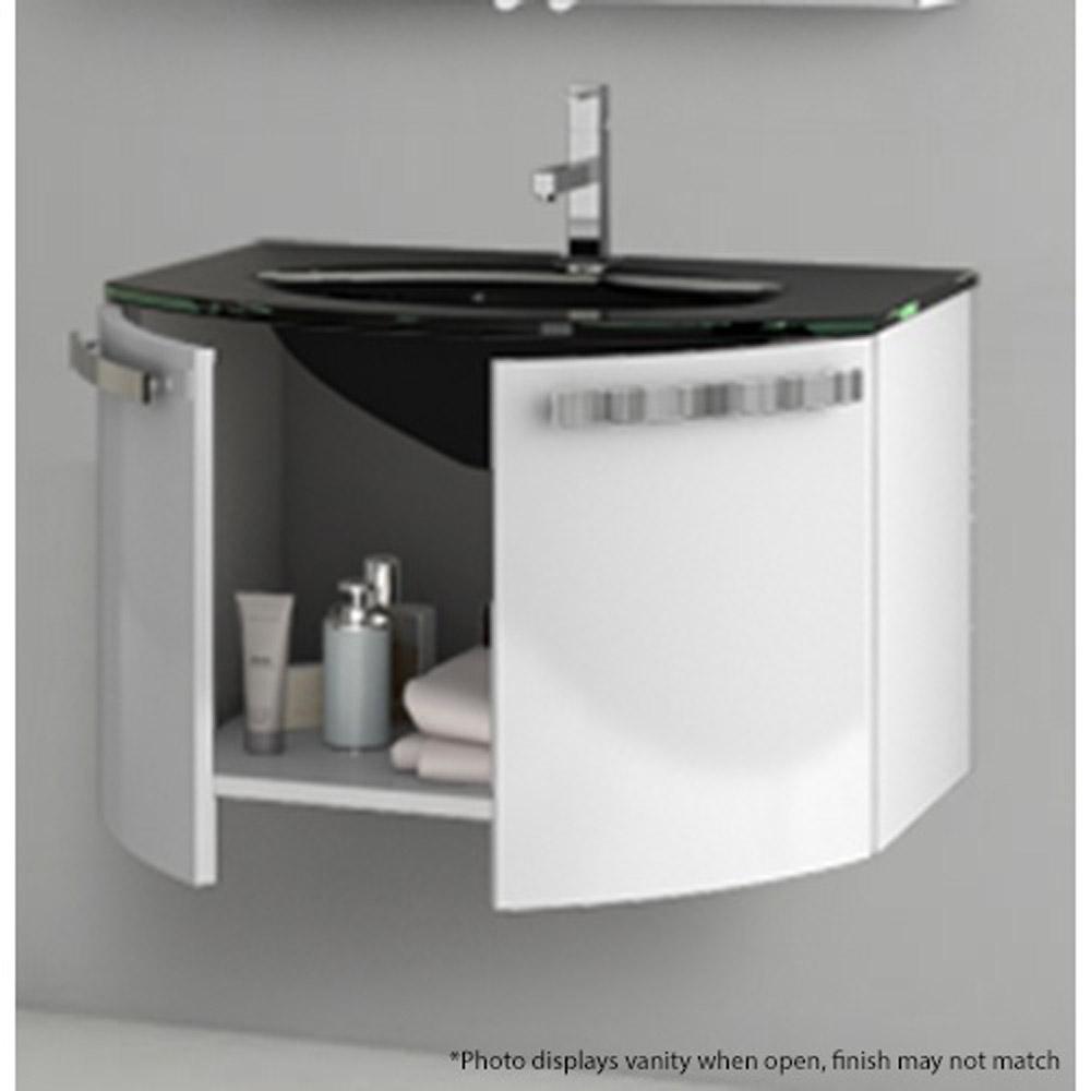 28 Inch Bathroom Vanity With Sink: Modern 28 Inch Crystal Dance Vanity Set With Glass Sink