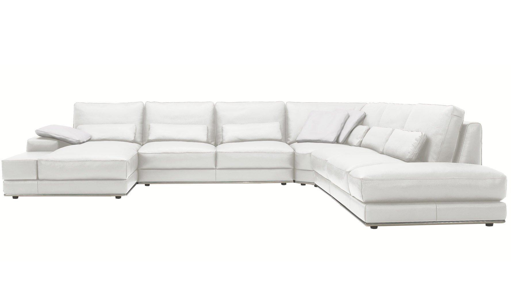Modern 3 piece white leather nolan sectional sofa zuri for 3 piece leather sectional sofa with chaise