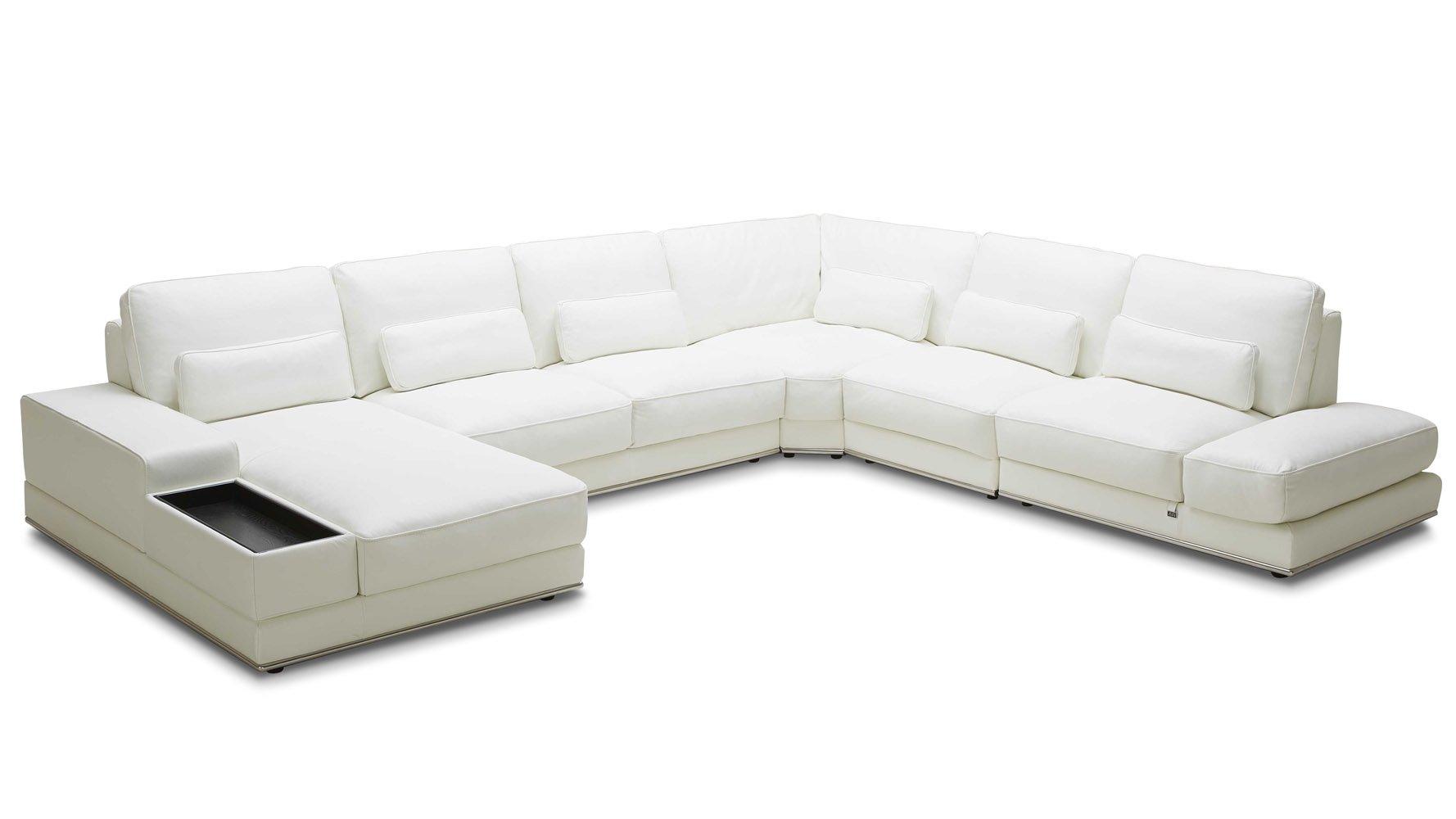 Modern 3 Piece White Leather Nolan Sectional Sofa Zuri
