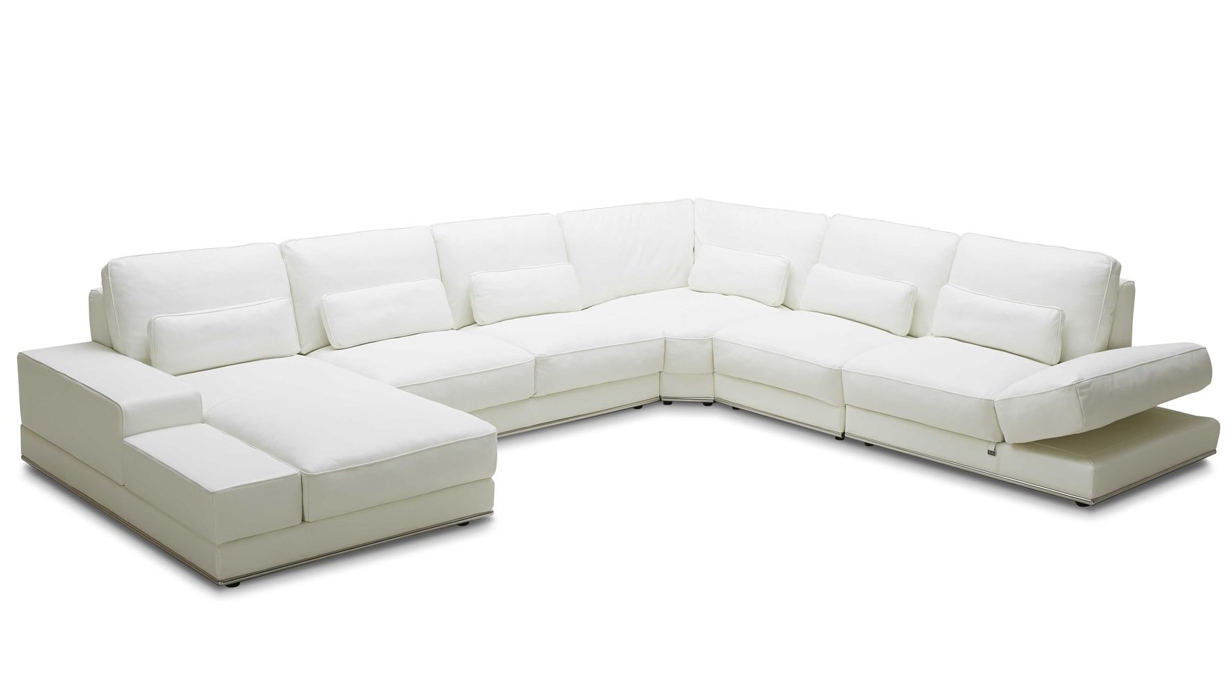 Modern 3 Piece White Leather Nolan Sectional Sofa Zuri