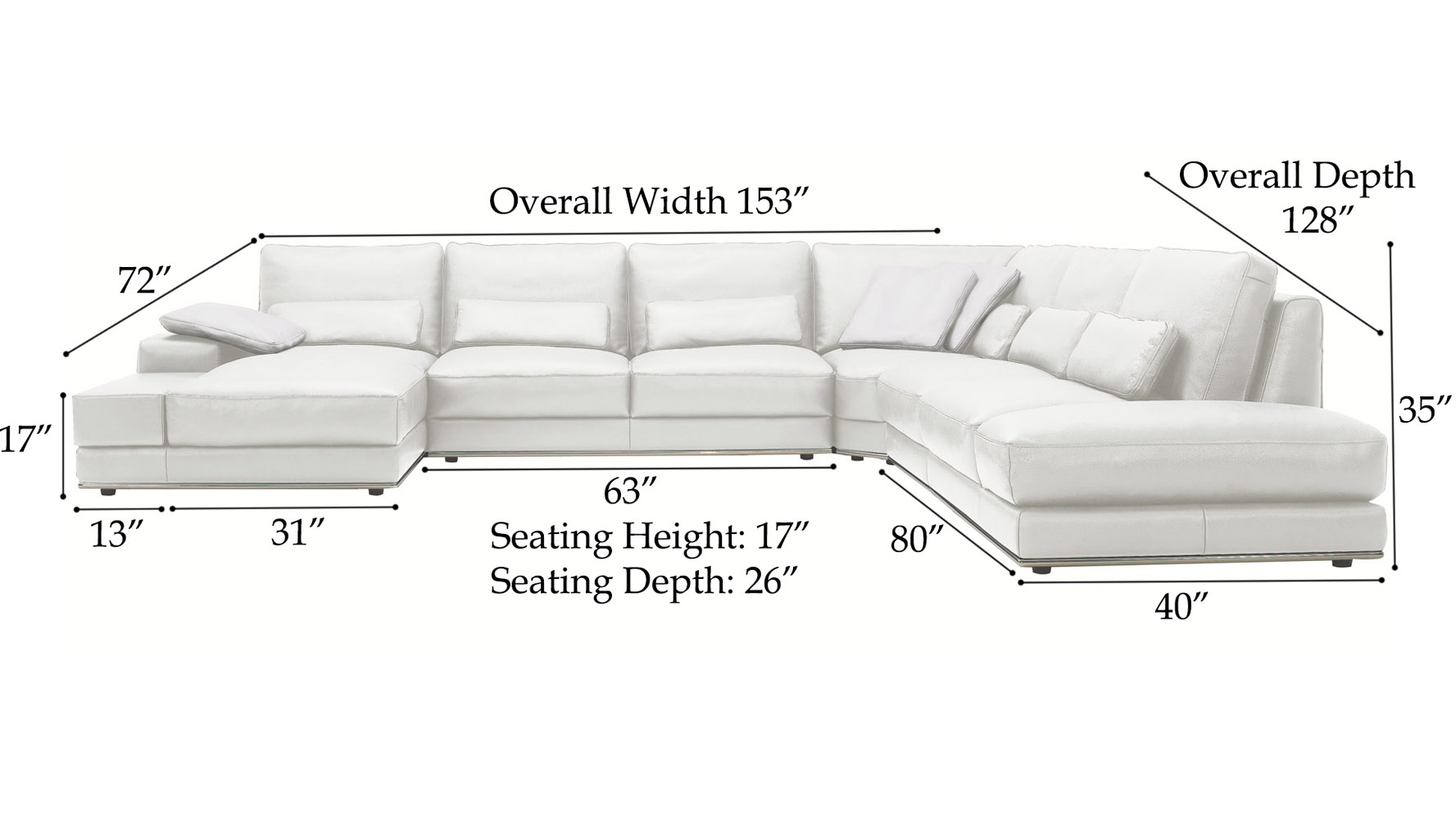 Modern 3 piece white leather nolan sectional sofa zuri for Chaise dimensions