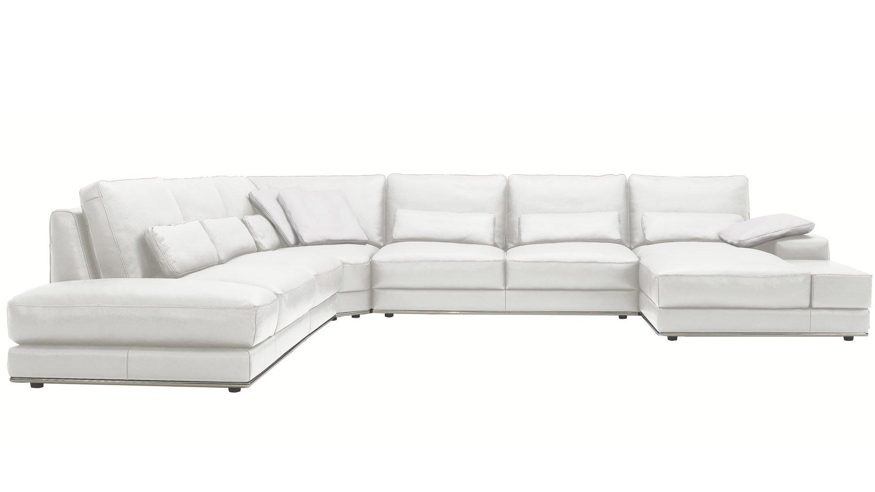 modern 3 piece white leather nolan sectional sofa zuri furniture
