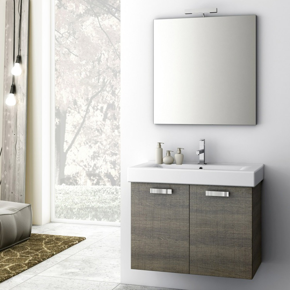 Modern 30 Inch Cubical Vanity Set With Ceramic Sink