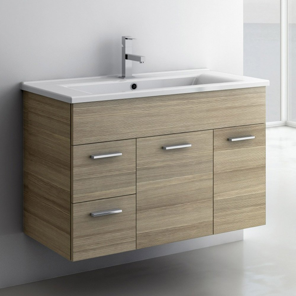 Modern 32 inch Loren Vanity Set with Ceramic Sink - Larch ...