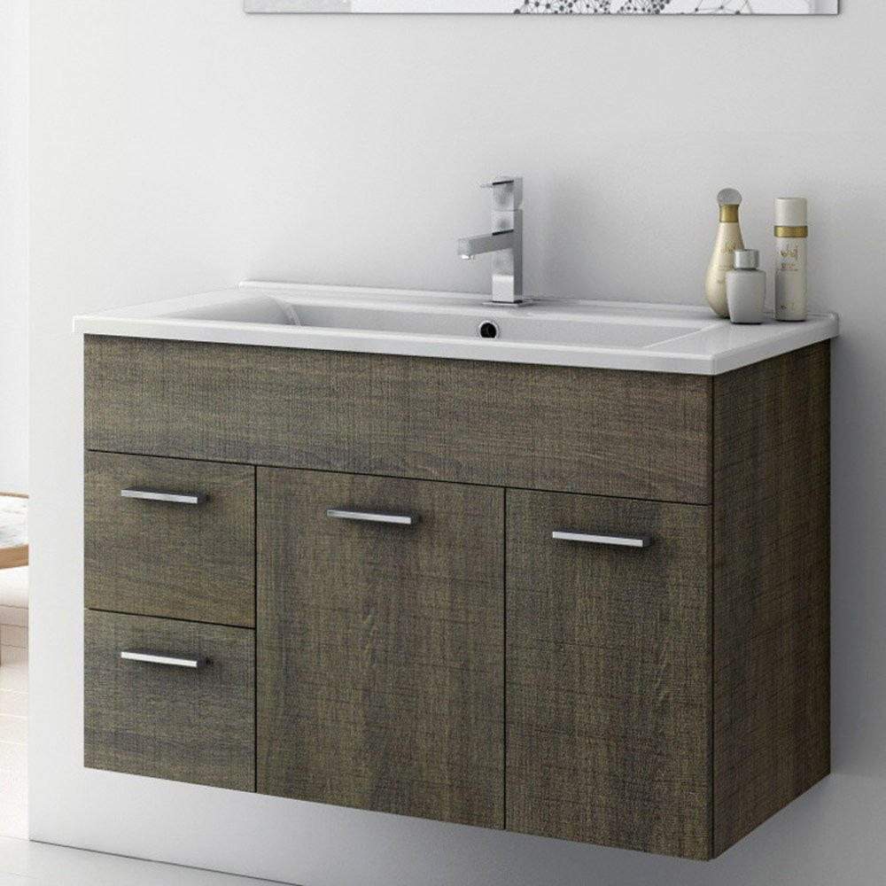 Loren 33 Inch Vanity SetModern 32 inch Loren Vanity Set with Ceramic Sink   Larch Canapa  . 32 Inch Bathroom Vanity. Home Design Ideas