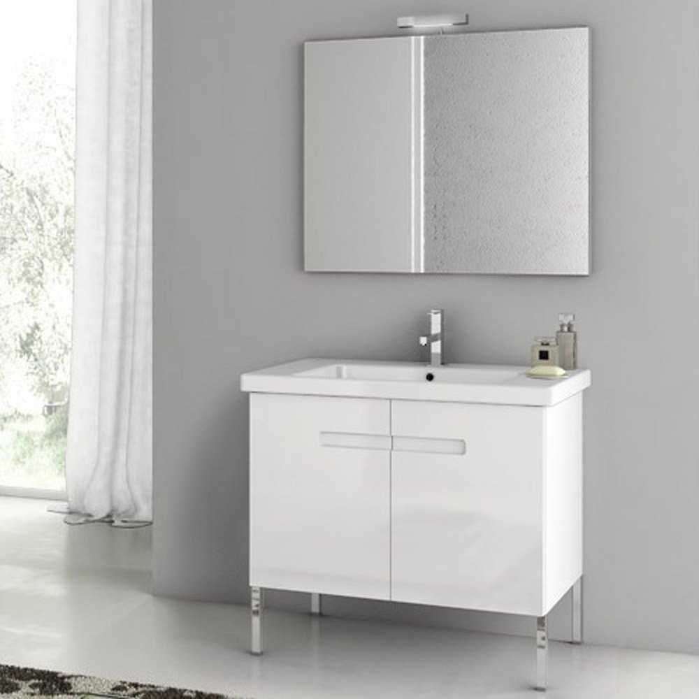 Modern 32 inch new york vanity set with ceramic sink for Latest bathroom sinks