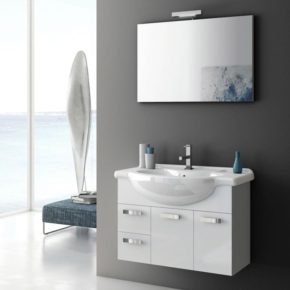 Modern 32 Inch Phinex Vanity Set With Ceramic Sink Glossy White Zuri Furniture