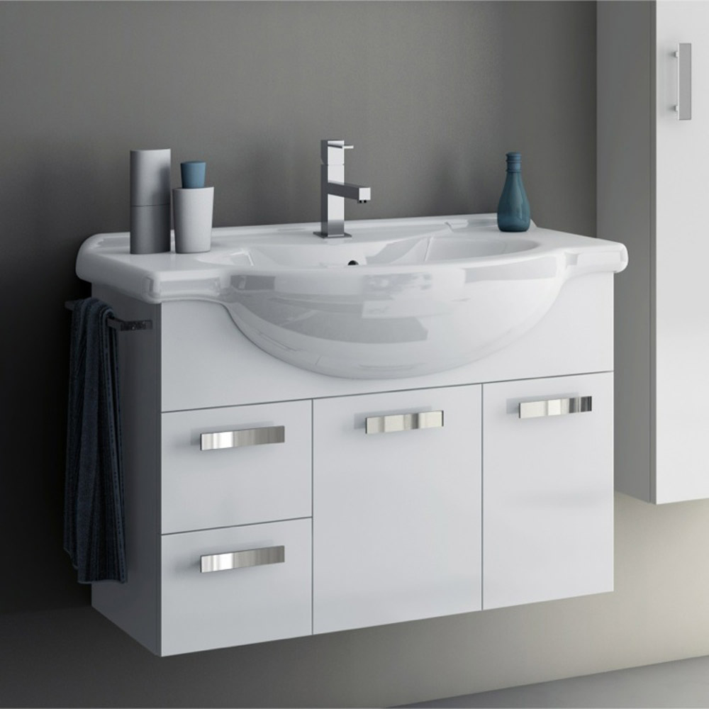Modern 32 Inch Phinex Vanity Set With Storage Cabinet - Glossy White