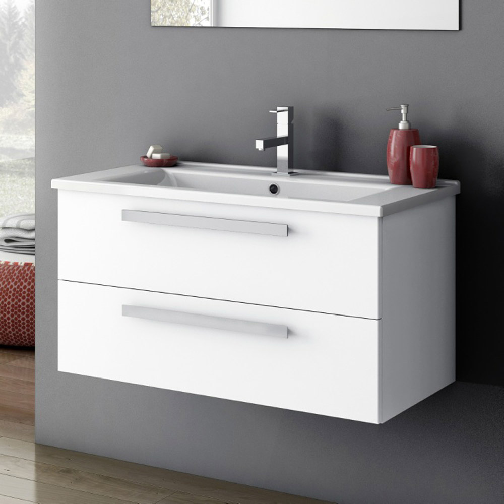 Modern 33 inch Dadila Vanity Set with Ceramic Sink - Grey ...