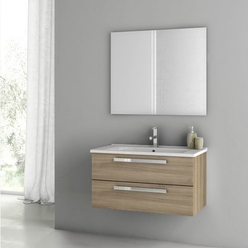 Modern 33 Inch Dadila Vanity Set With Ceramic Sink Grey Oak Senlis