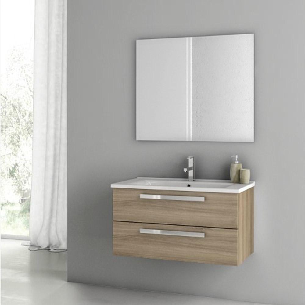 Modern 33 inch dadila vanity set with ceramic sink grey for Bathroom cabinets 33