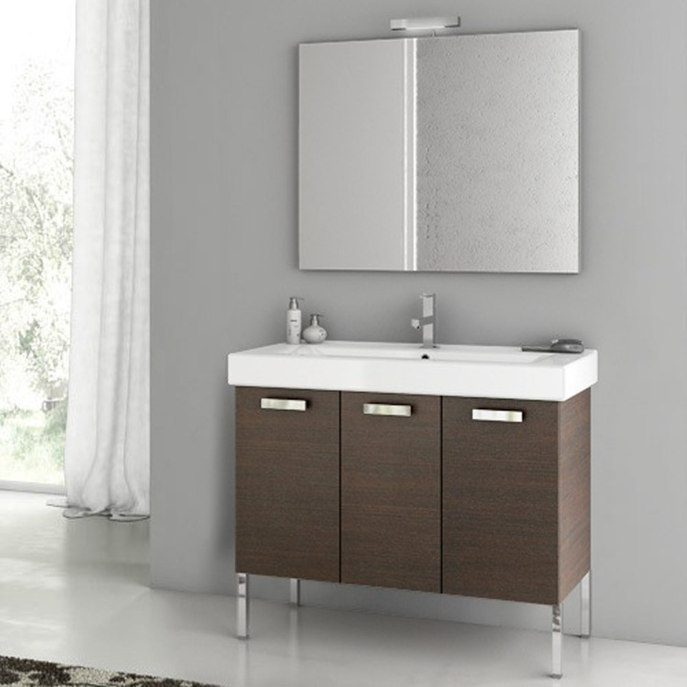 Cubical Vanity Set With Ceramic Sink Glossy White Zuri Furniture