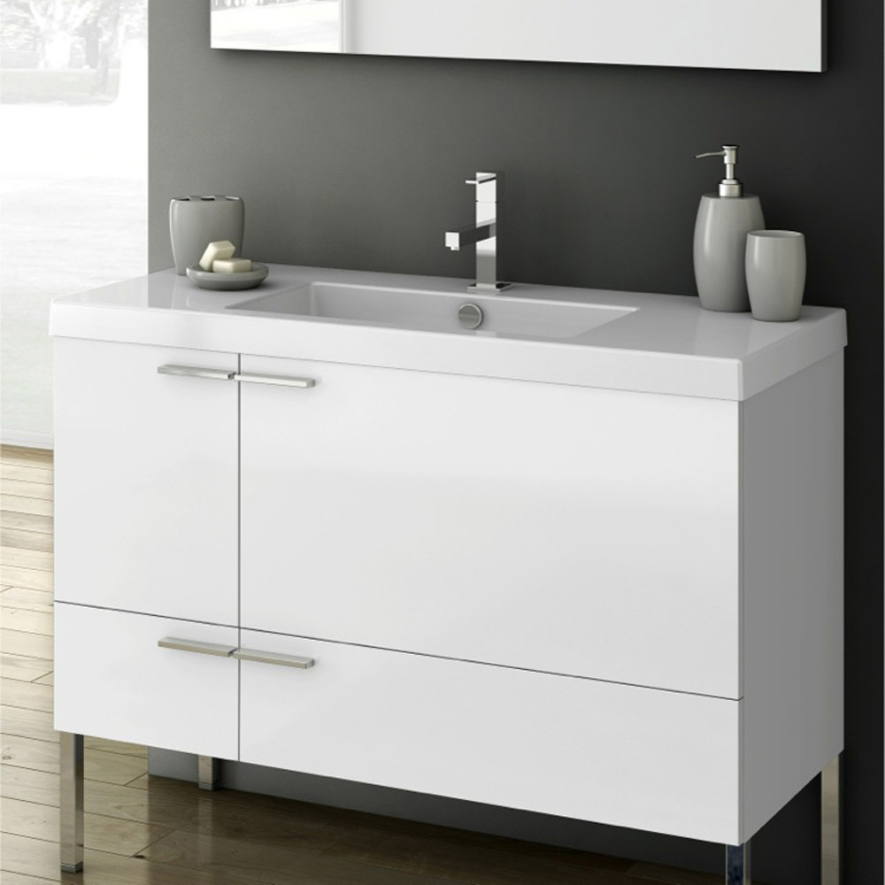 modern 39 inch bathroom vanity set with ceramic sink glossy white zuri furniture. Black Bedroom Furniture Sets. Home Design Ideas