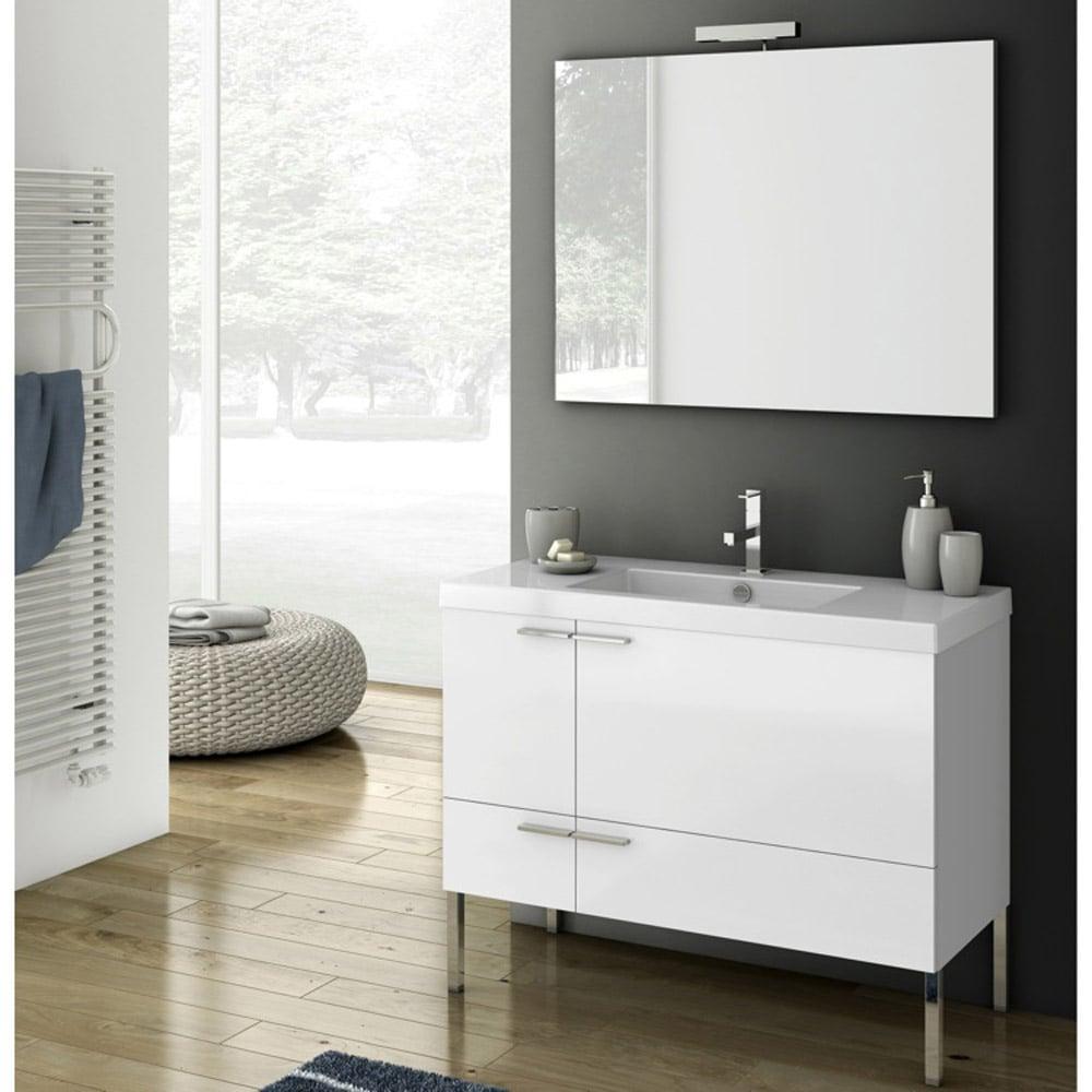 Modern 39 inch Bathroom Vanity Set with Ceramic Sink - Glossy White ...