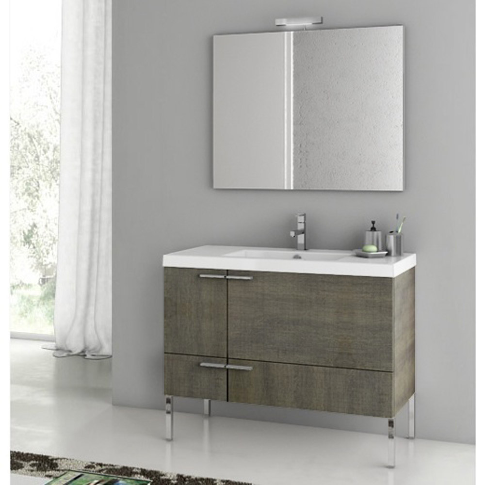 Bathroom Vanity Set With Ceramic Sink Glossy White Zuri Furniture