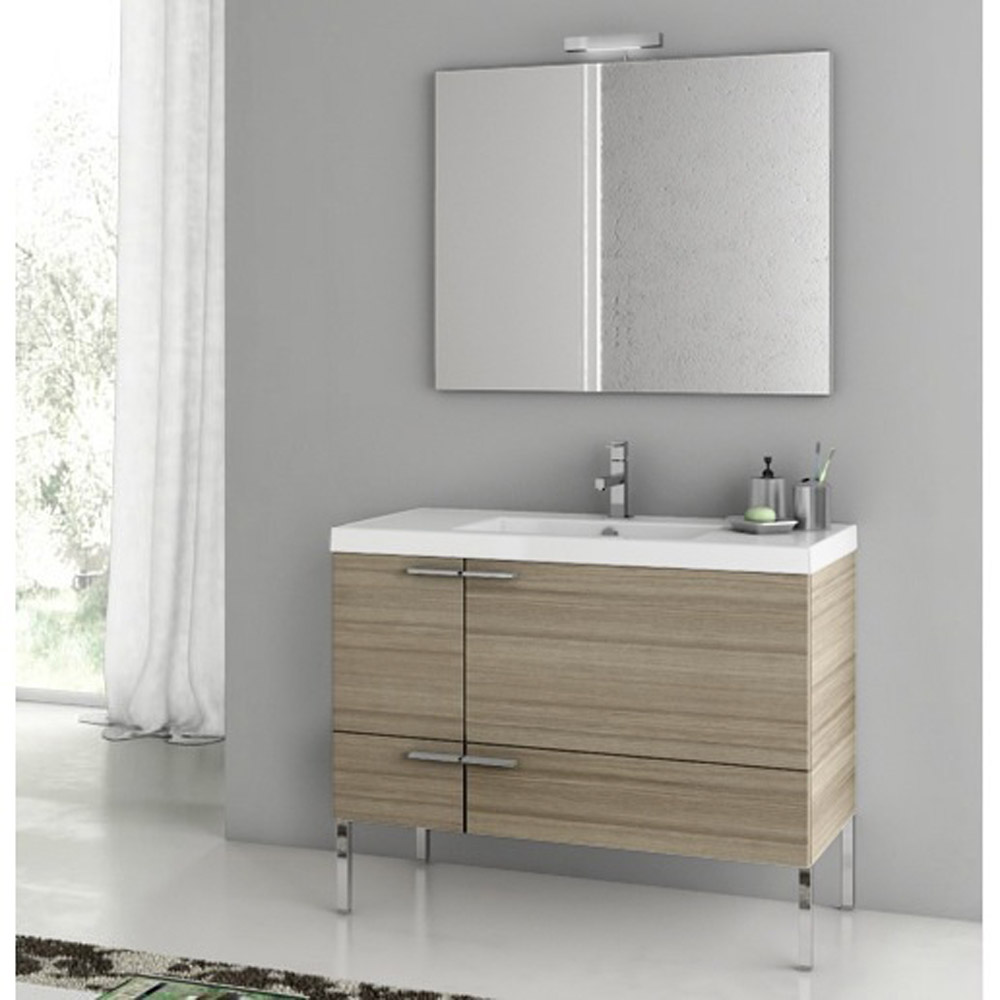 Modern 39 inch bathroom vanity set with ceramic sink glossy white zuri furniture Bathroom sink and vanity sets