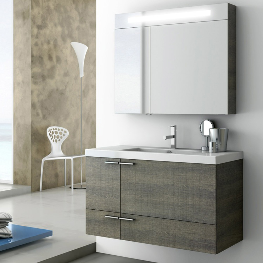Modern 39 inch bathroom vanity set with medicine cabinet for Latest bathroom sinks