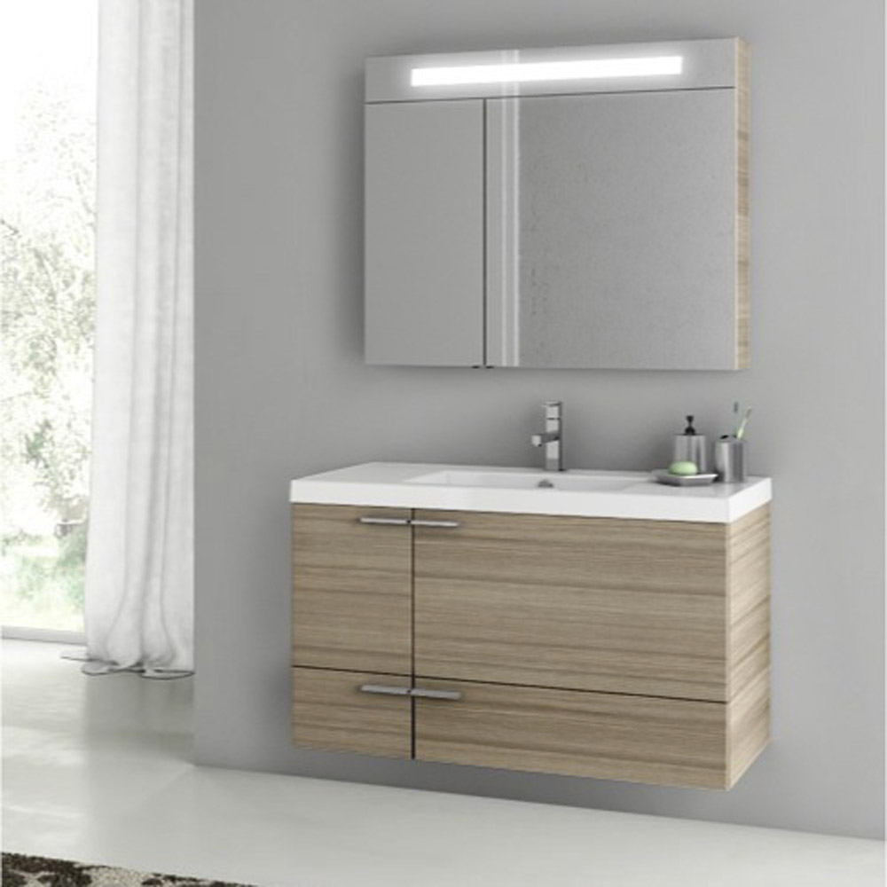 Modern 39 Inch Bathroom Vanity Set With Medicine Cabinet Grey Oak Zuri Furniture