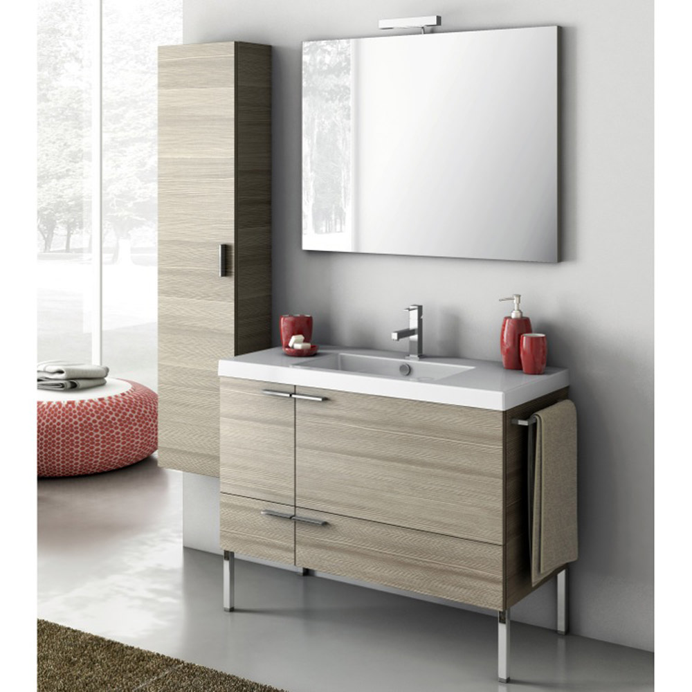 Modern 39 Inch Bathroom Vanity Set With Storage Cabinet Glossy White Zuri Furniture