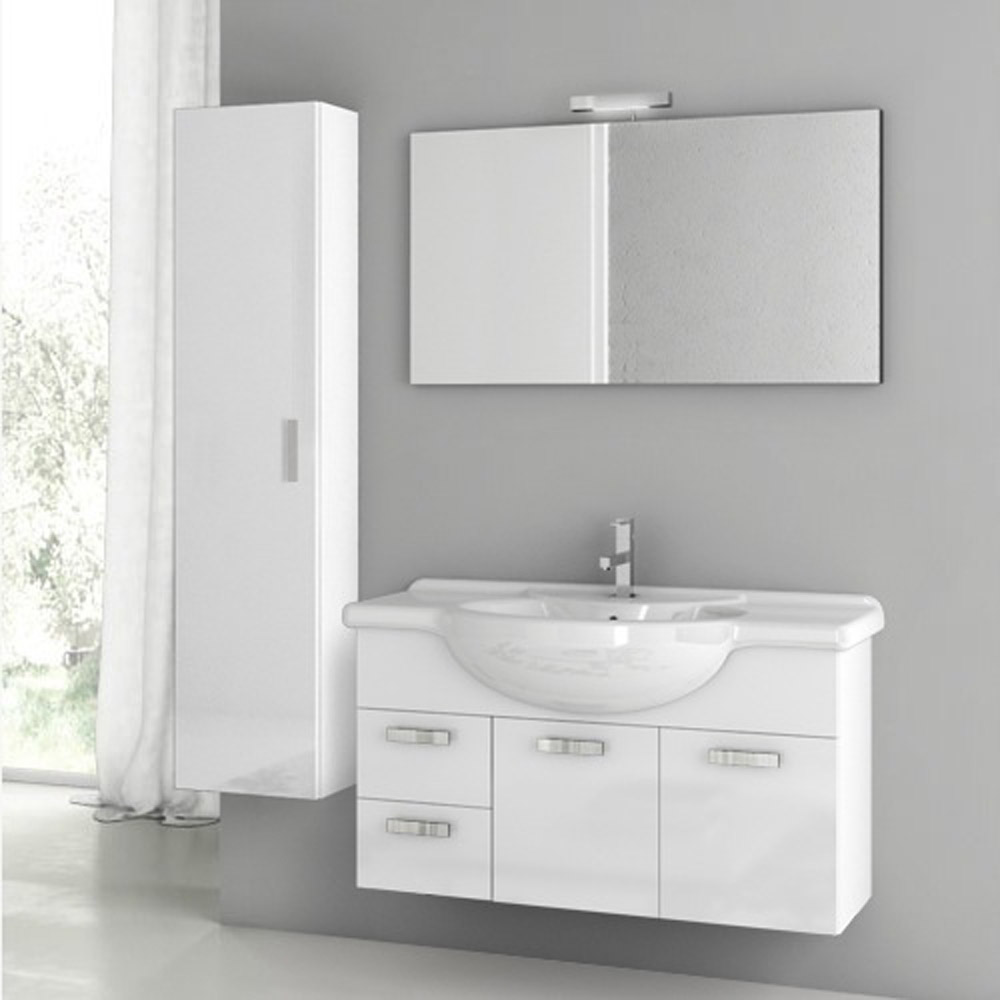 Modern 39 inch phinex vanity set with storage cabinet for Bathroom vanity cabinet storage