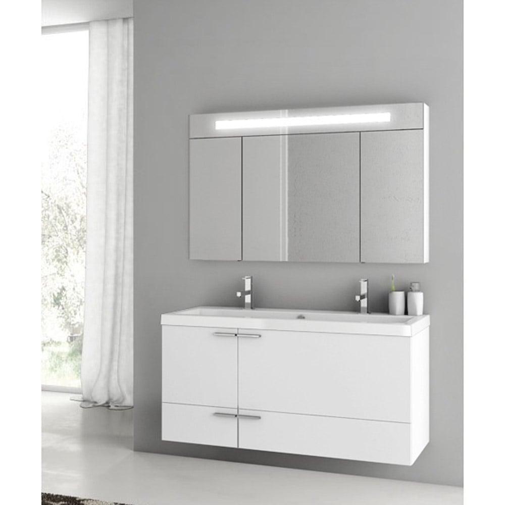 Modern 47 Inch Bathroom Vanity Set With Medicine Cabinet Grey Oak Zuri Furniture