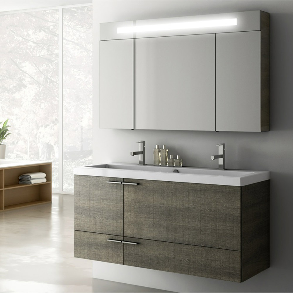 Modern 47 inch Bathroom Vanity Set with Medicine Cabinet - Grey Oak ...