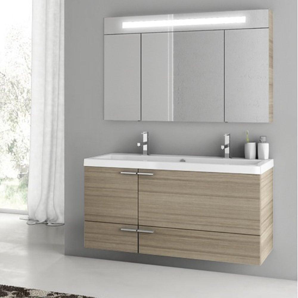 Modern Inch Bathroom Vanity Set With Medicine Cabinet Grey Oak - 47 bathroom vanity sink cabinet