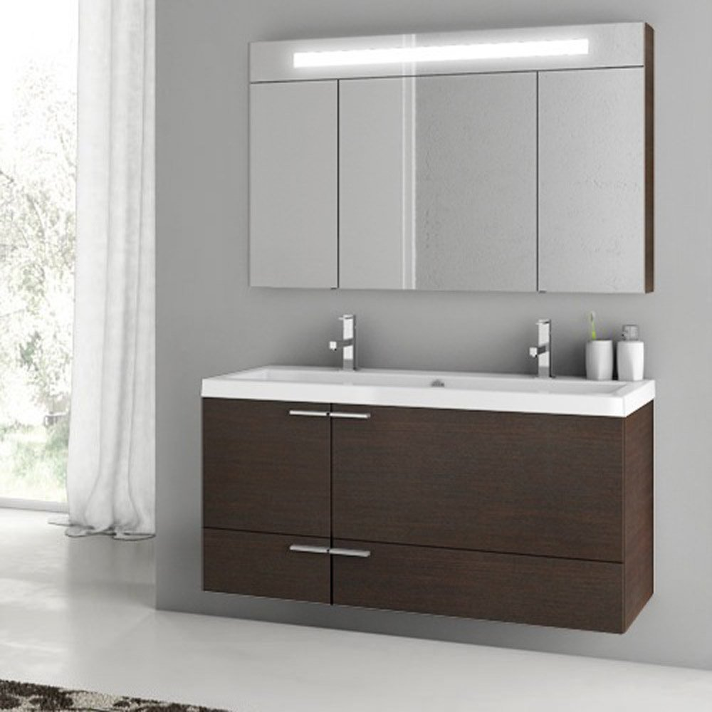 modern 47 inch bathroom vanity set with medicine cabinet grey oak zuri furniture. Black Bedroom Furniture Sets. Home Design Ideas