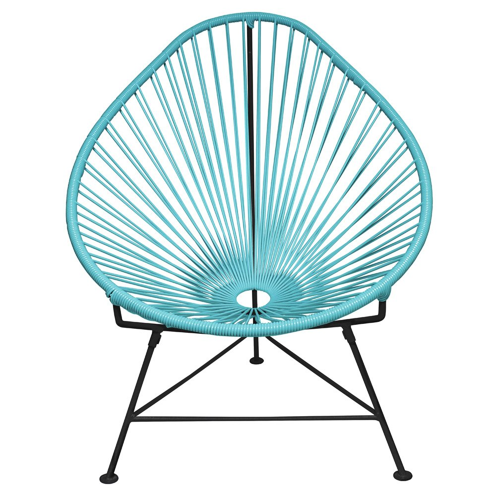 Modern Acapulco Chair with Cord Seat and Black Frame   Zuri Furniture