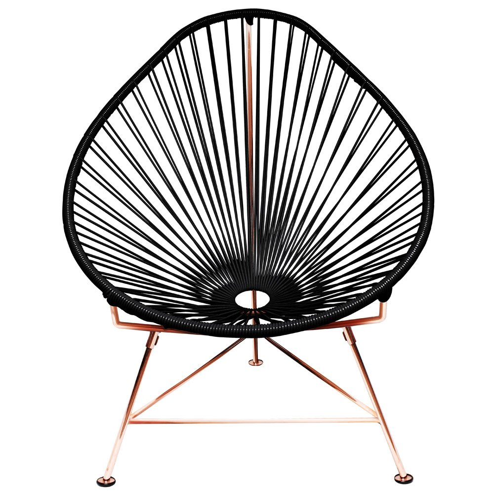 Modern Acapulco Chair With Cord Seat And Copper Frame