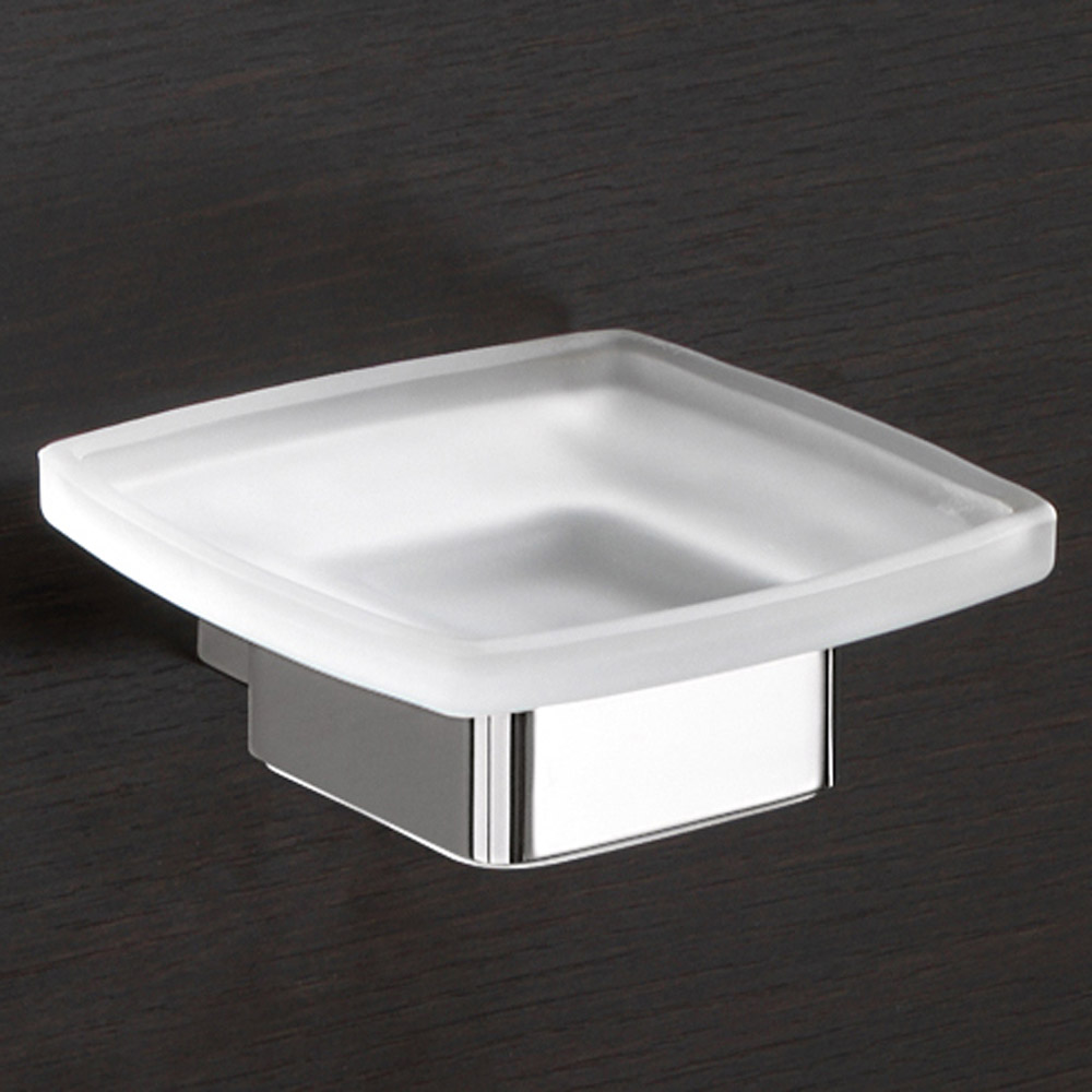 Modern bath lounge soap dish wall mounted zuri furniture for Wall mounted soap dishes for bathrooms