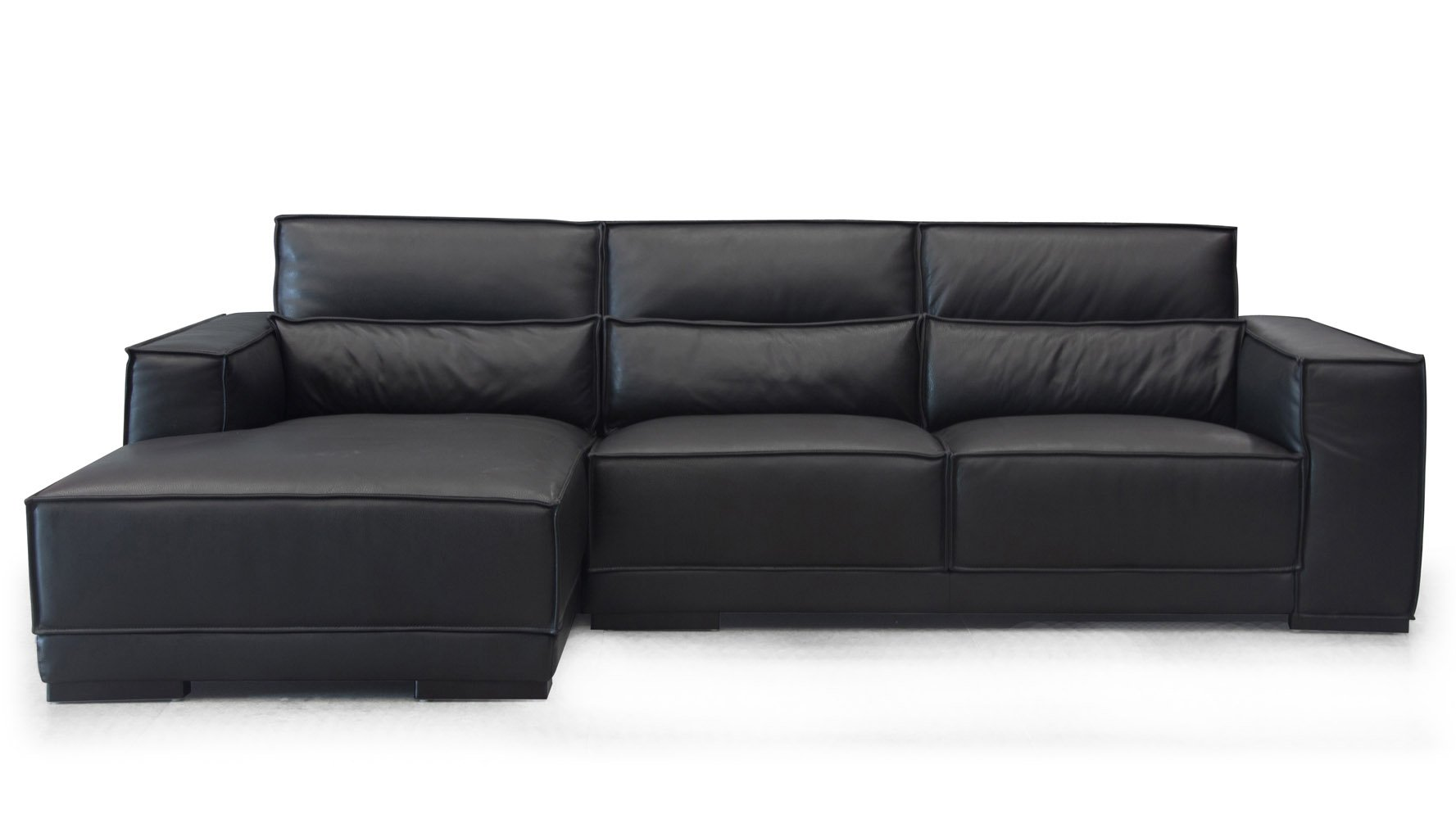 Modern Black Top Grain Leather Alexis Sectional with Pillows