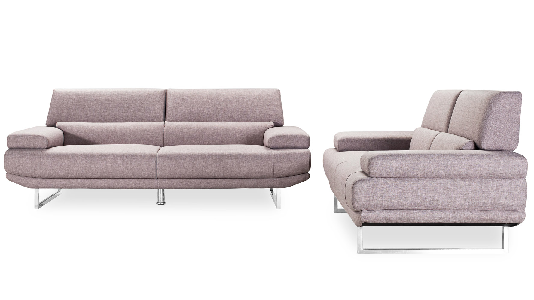 Modern Taupe Fabric Upholstered 2 Piece Sofa Set With