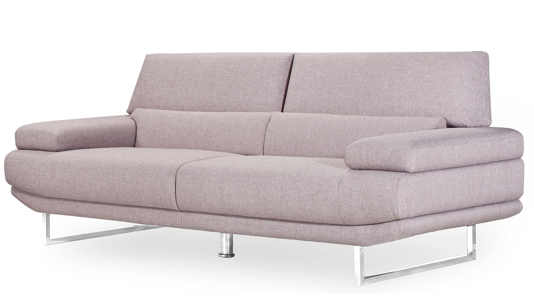 Modern Taupe Fabric Upholstered 2 Piece Sofa Set With Stainless Steel Legs  | Zuri Furniture