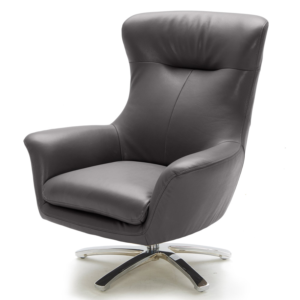 Modern Gray Leather Winston Swivel Chair With Stainless