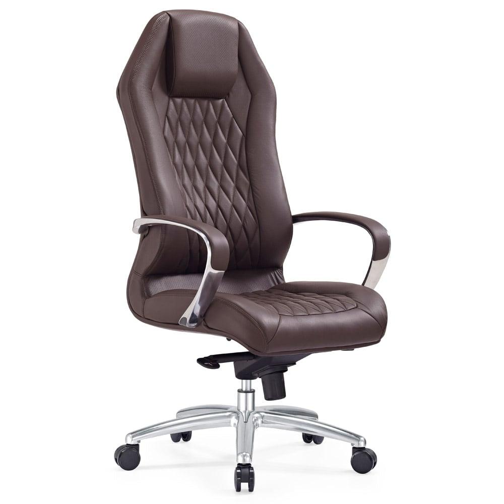 modern ergonomic sterling leather executive chair with aluminum  - modern ergonomic sterling leather executive chair with aluminum base  darkbrown  zuri furniture