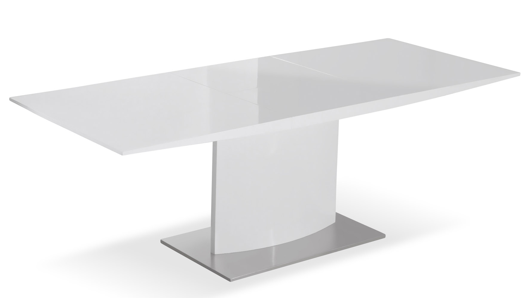 Modern extending black lacquer and stainless steel gillian for Stainless steel dining table