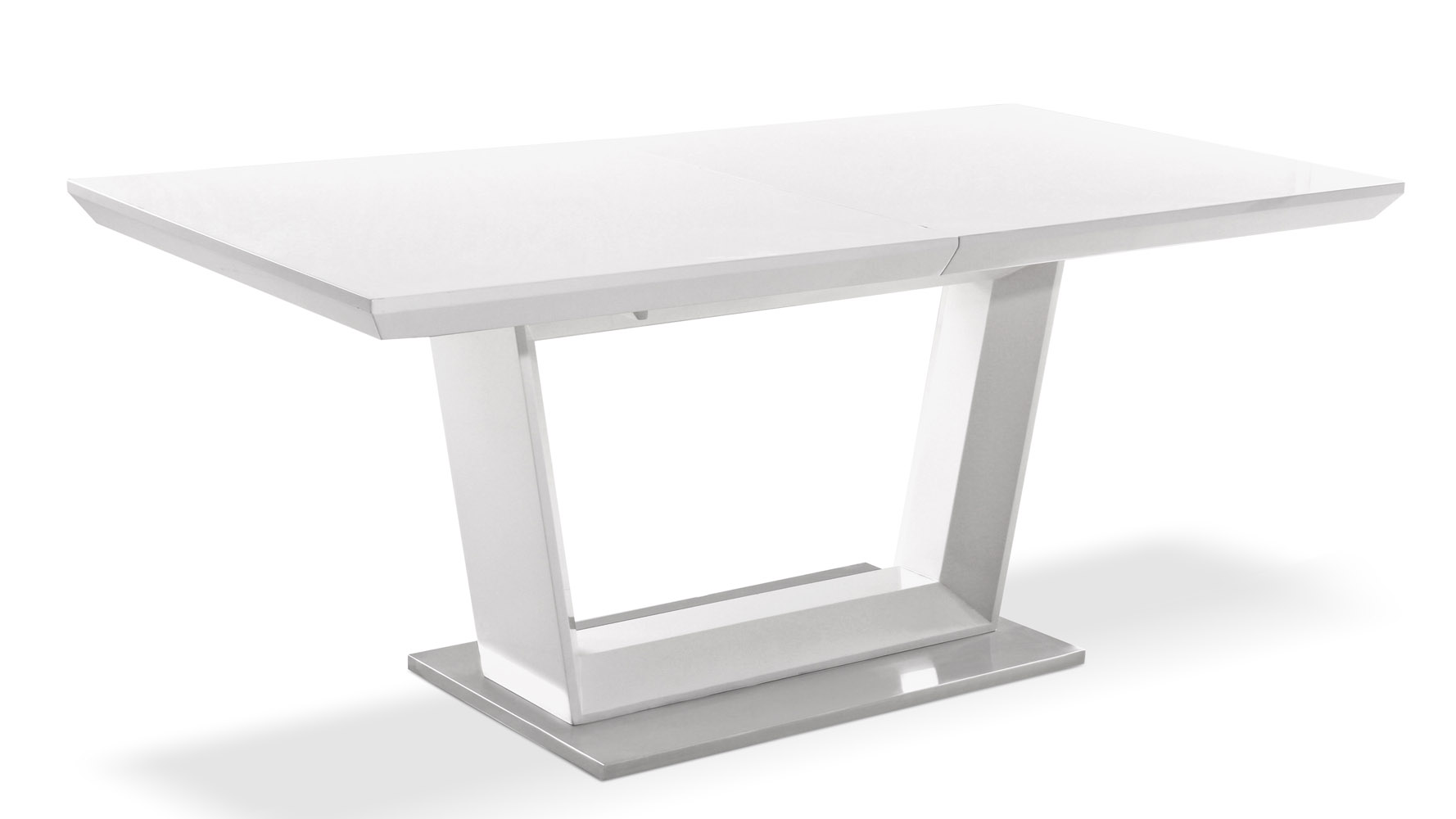 Modern Extending White Lacquer And Stainless Steel Dining Table Zuri Furniture