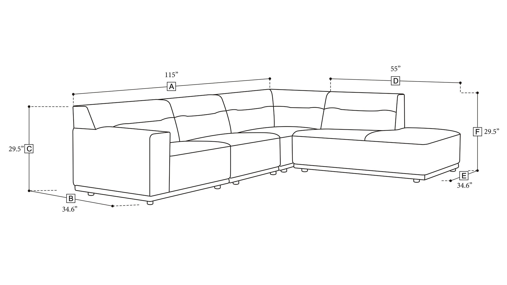 Ravello Sectional  sc 1 st  Zuri Furniture : dimensions of sectional sofa - Sectionals, Sofas & Couches