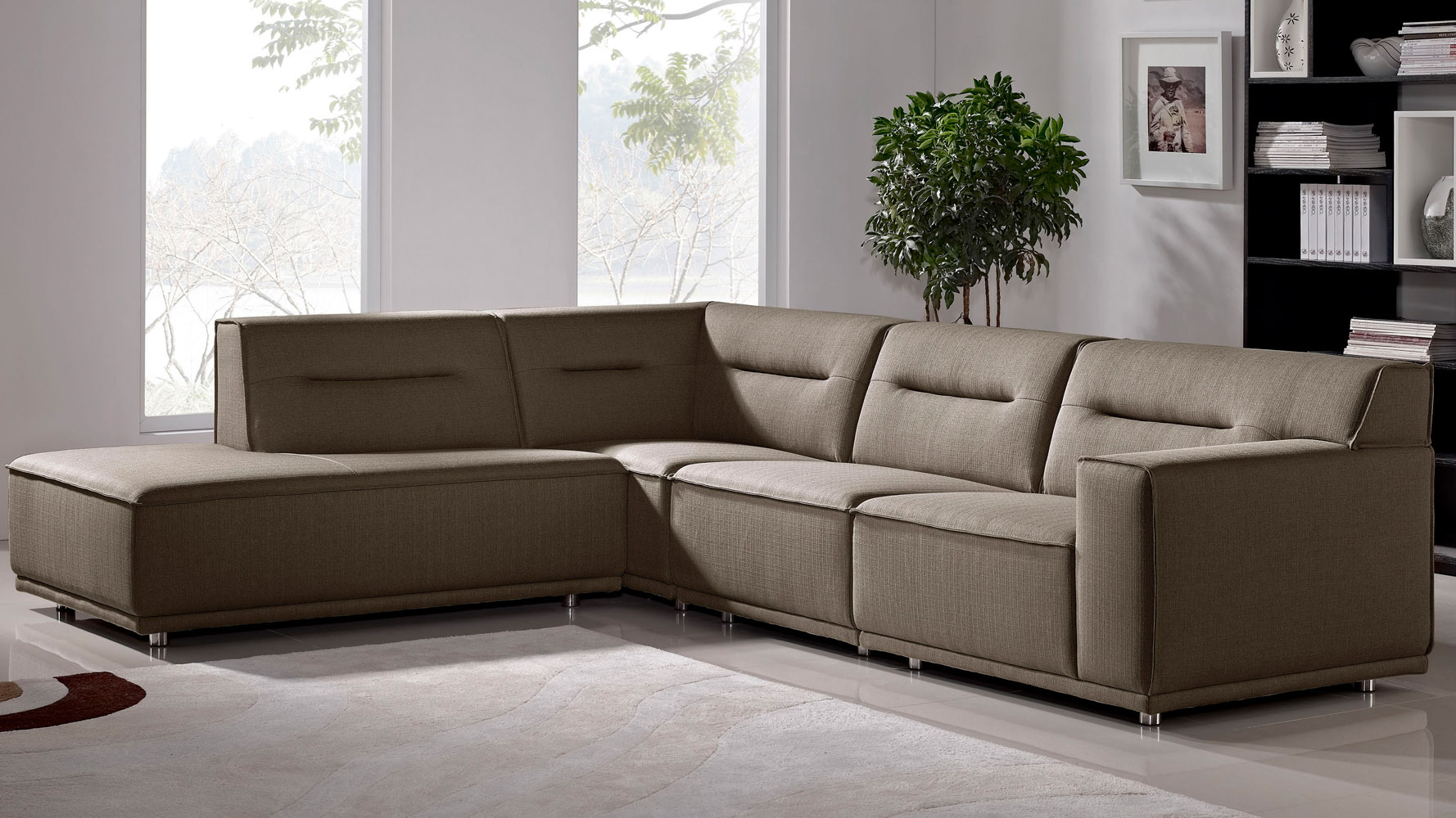 Modern Fabric Upholstered 4 Piece Ravello Sectional Sofa