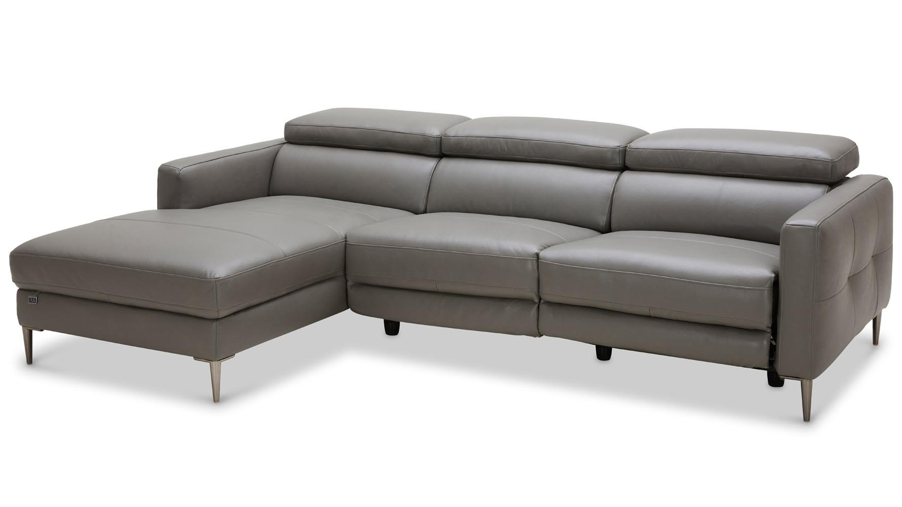 Modern Grey Leather Reno Sectional with Power Recliner Seat | Zuri ...