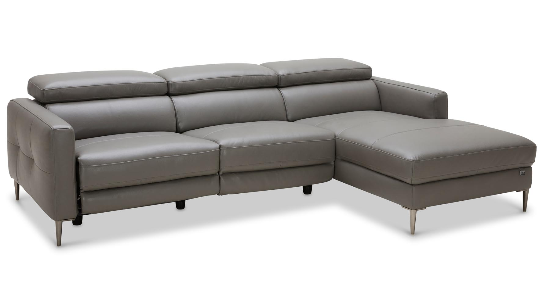 Modern Grey Leather Reno Sectional With Power Recliner Seat Zuri  ~ Modern Gray Leather Sofa