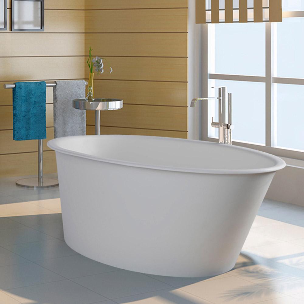 Modern oval one soaker bathtub zuri furniture for Non standard bathtubs
