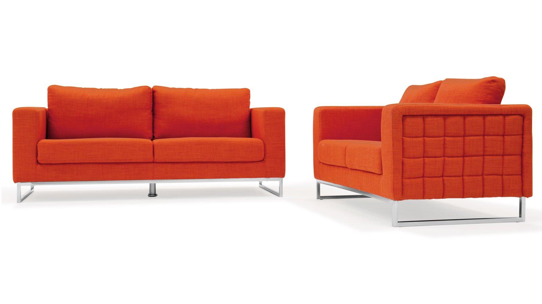 Modern Orange Fabric Upholstered 2 Piece Sofa Set With Stainless Steel Legs Zuri Furniture