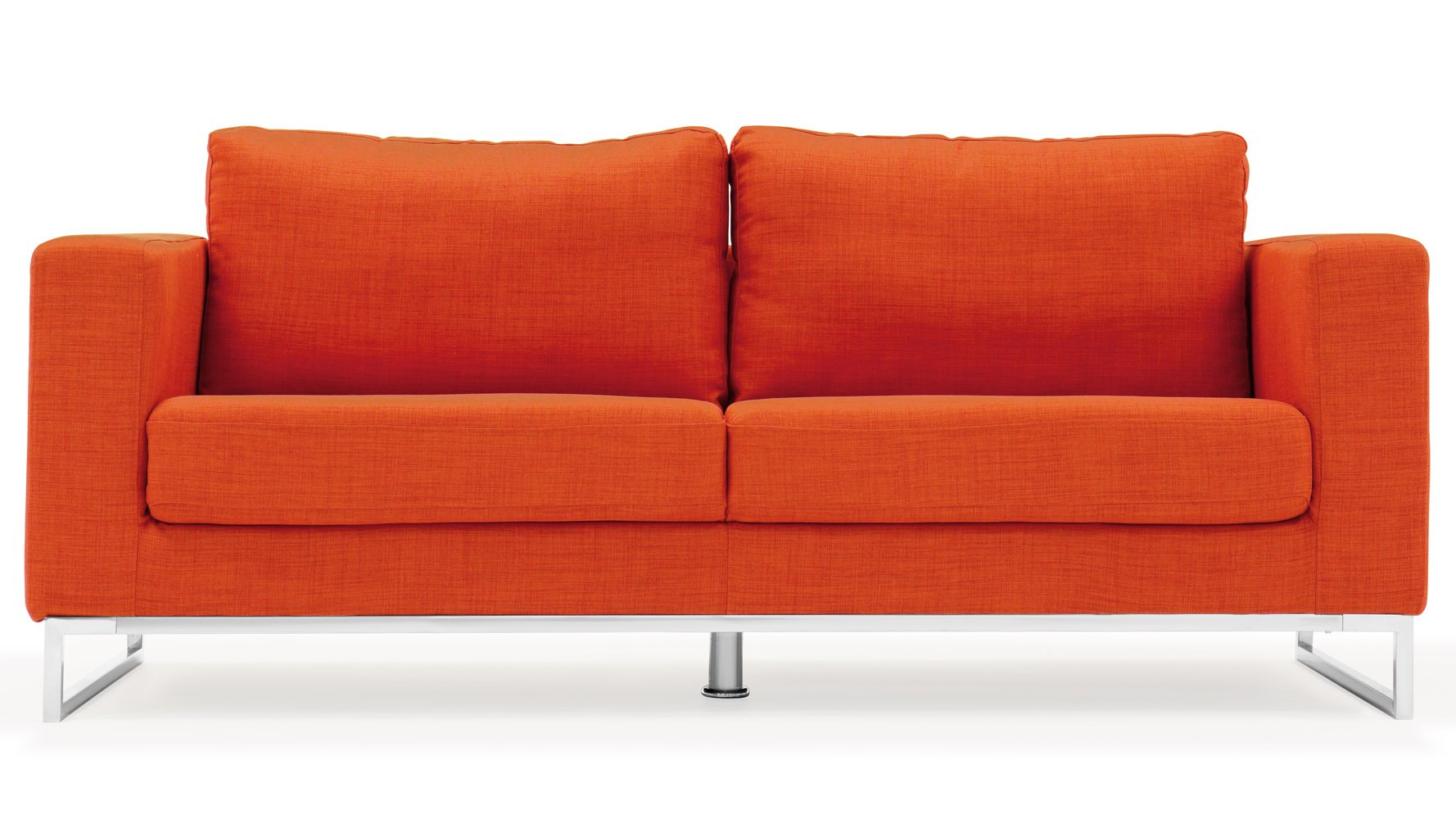 Modern Orange Fabric Upholstered 2 Piece Sofa Set with Stainless ...