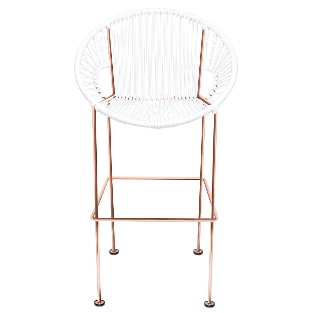modern puerto bar stool with cord seat and copper frame