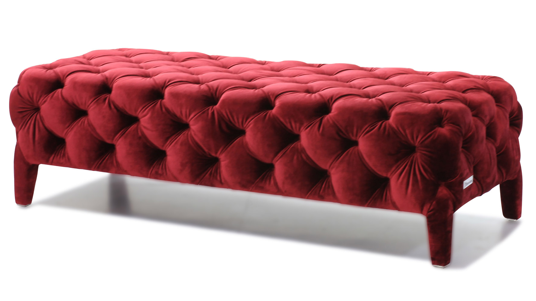 modern red velour tufted oslo bedroom bench zuri furniture