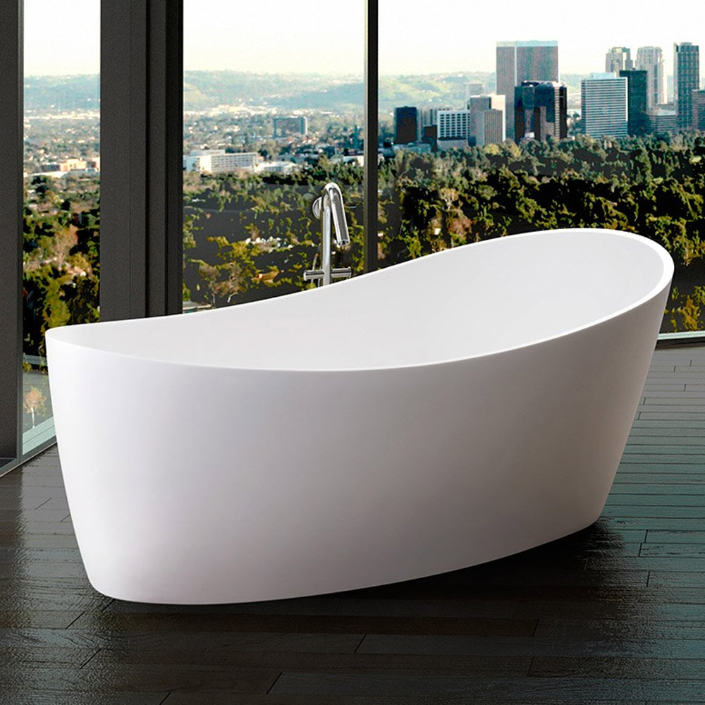 Modern dune freestanding bathtub zuri furniture for Free standing soaking tub